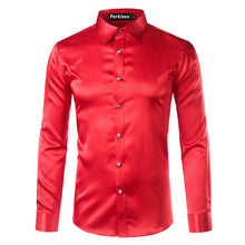 Men's Casual Long Sleeve Slim FitSilk Satin Shirt