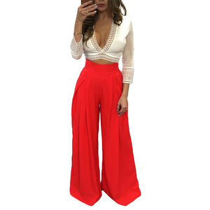 Women Harem Pants Solid Color High Waist Loose Wide Leg Pants Pockets Casual Palazzo Baggy Clubwear Trousers 2018 Pantalon Femme
