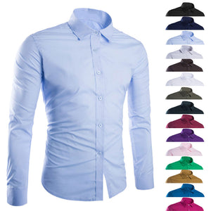 Men's Solid Color Easy-care Anti Crease Casual Shirt