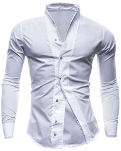 Men's Slim Fit Collar Solid Camisas Dress Shirt