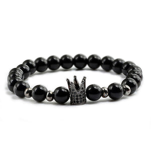6 Styles Trendy Lava Stone Imperial Crown Charm Bracelets Men Natural Stone Buddha Beads For Women Men Jewelry Pulsera Hombres