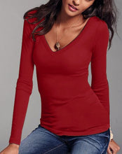 Women Casual Solid Sexy Deep V Neck T-shirt