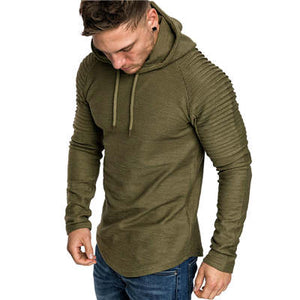 Men's Solid Color Slim Fit Stripe Fold Sportswear Hooded Sweatshirt