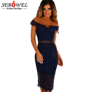 SEBOWEL 2018 Sexy Red Lace Bardot Party Midi Dress Women Short Sleeves Off Shoulder Bodycon Dresses Ladies Slash neck Club wear