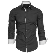 Medusa Casual Solid Slim Shirt Fitted Turn-down Collar Shirt