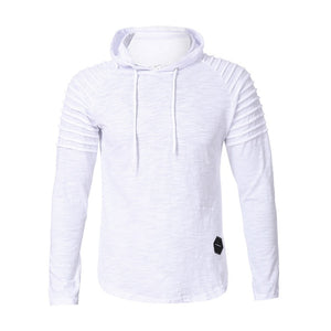Winter Pleats Slim Fit Raglan Long Sleeve Hoodies