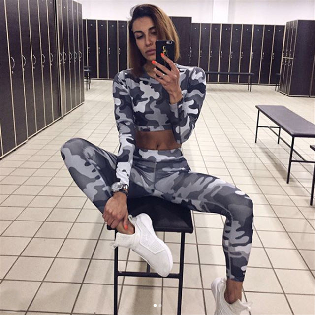 Women Camouflage Dry Fit Active Wear Tracksuit