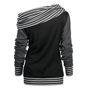 Skew Neck Long Sleeve Striped Patchwork Button Sweatshirt