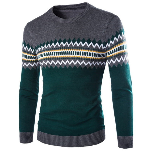 2018 Men's Knitted Sweater Patterns Striped Thin Pullover Sweaters Winter Casual Round Neck Wool Sweater Men M-3XL