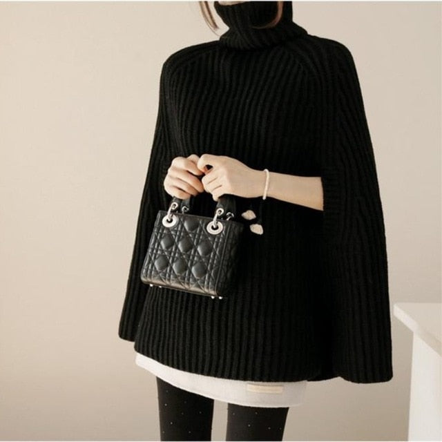 New Batwing Sleeve Korean Version Turtleneck Knitted Tops