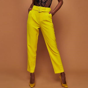 Autumn High Waist Belt Casual Pants Women Fashion Straight Pockets Office Lady Women Trousers Streetwear Women Pants 2018