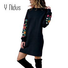 Elegant Floral Print Long Sleeve O-Neck Loose Warm Dress