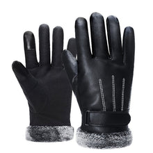 2018 Winter Men PU Leather Short Thicked Black Touch Screen Gloves Man Outdoor Car Driving Mittens Men Waterproof Gloves For Ski