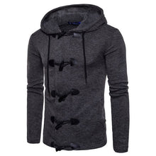 Dropshipping Korean Mens Sweater 2018 Brand Fashion Horn Buckle Cardigan Preppy Style Slim Fit Hooded Men Kitted Coats Black