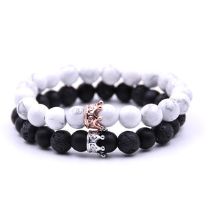 Couple Bracelet Charms Stone Beads Men Jewelry Crown Bracelets For Women Bangles Pulseira