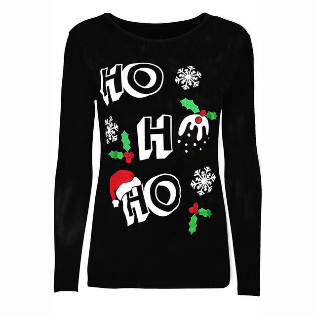 Christmas Casual Long Sleeves Pullover O Neck Shirt