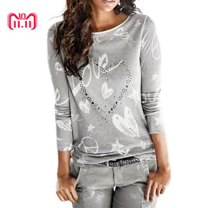 Casual Long Sleeve Letter Printed Loose Cotton Tops