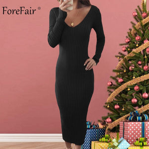 Forefair Knitted Sweater Dress Women Autumn 2018 Noodles Elastic Long Sleeve Bodycon Dress Black Red Sexy Midi Winter Dress
