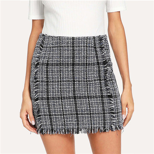 Sheinside Plaid Frayed Trim Tweed Bodycon Mini Skirt For Women High Waist Blue and Black Autumn Ladies Elegant Short Skirts
