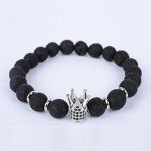 Micro-inlaid black zircon rose golden crown volcanic rock energy stone beaded bracelets for women's male's fashion alloy jewelry