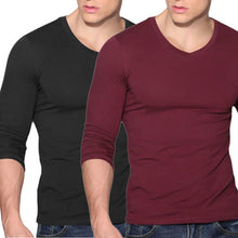 Men's Slim Fit V Neck Long Sleeve Muscle Soft wear T-shirt