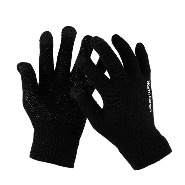 1Pair Men Knitted Gloves For Phone Screen Male Thicken Winter Autumn Warm Wool Cashmere Solid Gloves Men Mitten Business Gloves
