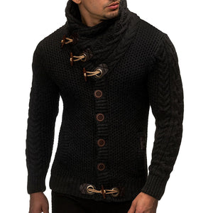 ZOGAA Men Cardigan Sweater Casual Slim Horns Buckle Croissant Button Thick Hedging Turtleneck Men's Knitting Sweaters
