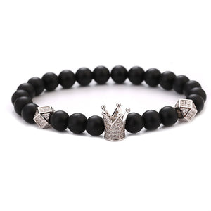 Kang hua 2019 Dazzling jewelry Matte Black stone Bracelet Pave CZ Crown Bracelets for Women&Men Popular beautiful accessories