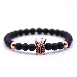 Crown Bracelet Men Women New Fashion Charm Bracelet Lava Stone Bead Bracelet Men Luxury Jewelry Gift