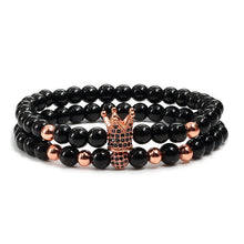 2pcs/set Fashion Rose Gold CZ Crown Ball Couple Bracelets Bangles Charm Women Men Black Natural Stone Bead Bracelet Yoga Jewelry