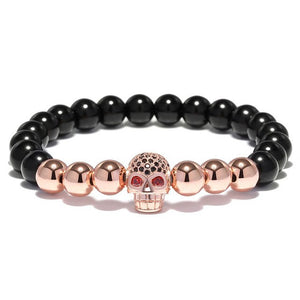"""Black Magic"" Skull Bracelet CZ Black Zirconia 8mm Obsidian Beads Hematite Stone"