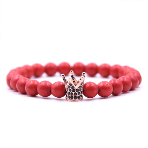 HONEYYIYI Micro Pave CZ Rose gold Crown Charms Bracelet For women Natural stone Bracelets & Bangles Men Jewelry pulseras