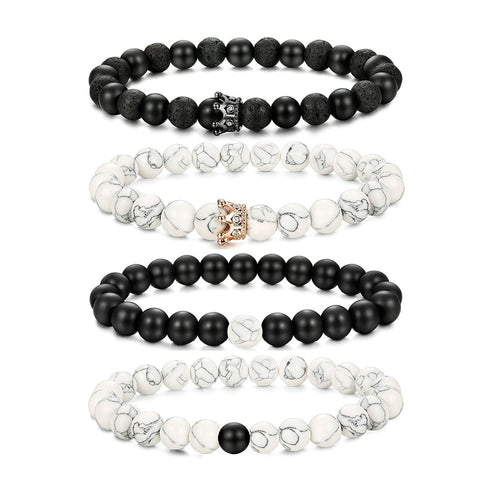 2 pcs / lot Crown Natural Stone Beads Bracelet For Women Men Rose Gold Color Silver Stretch Bead Bracelets Couple Jewelry Distan