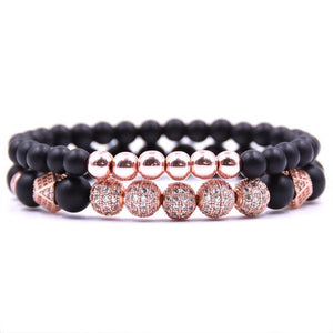 """The World Is Yours"" - Matte Black stone Bracelet Pave CZ 4 color ball Handmade"