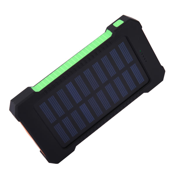 GREEN Waterproof Solar Powered USB Power Bank with LED Light 10000Mah