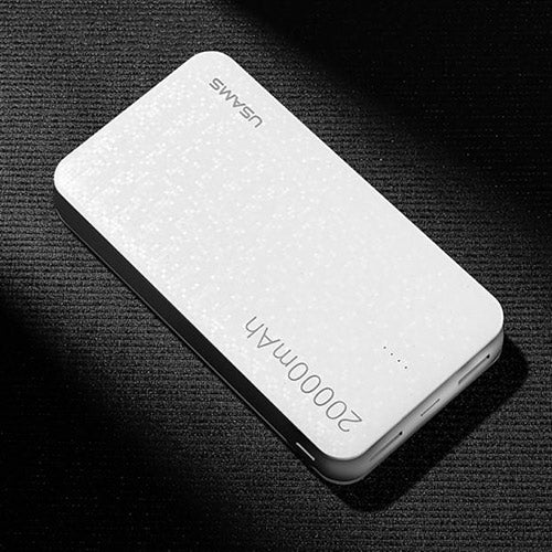 White Mosaic Universal Dual USB Power bank 20000 mAh with LED Display