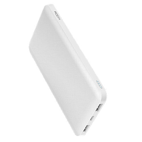 Ultra-thin Polymer USB power bank  With LED Light WHITE 10000mah