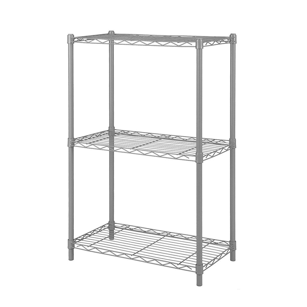 3-Shelf Wire Shelving Rack Metal Shelf Free-Standing Storage Organizer Unit