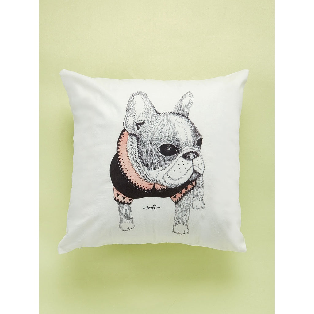Bulldog Print Cushion Cover
