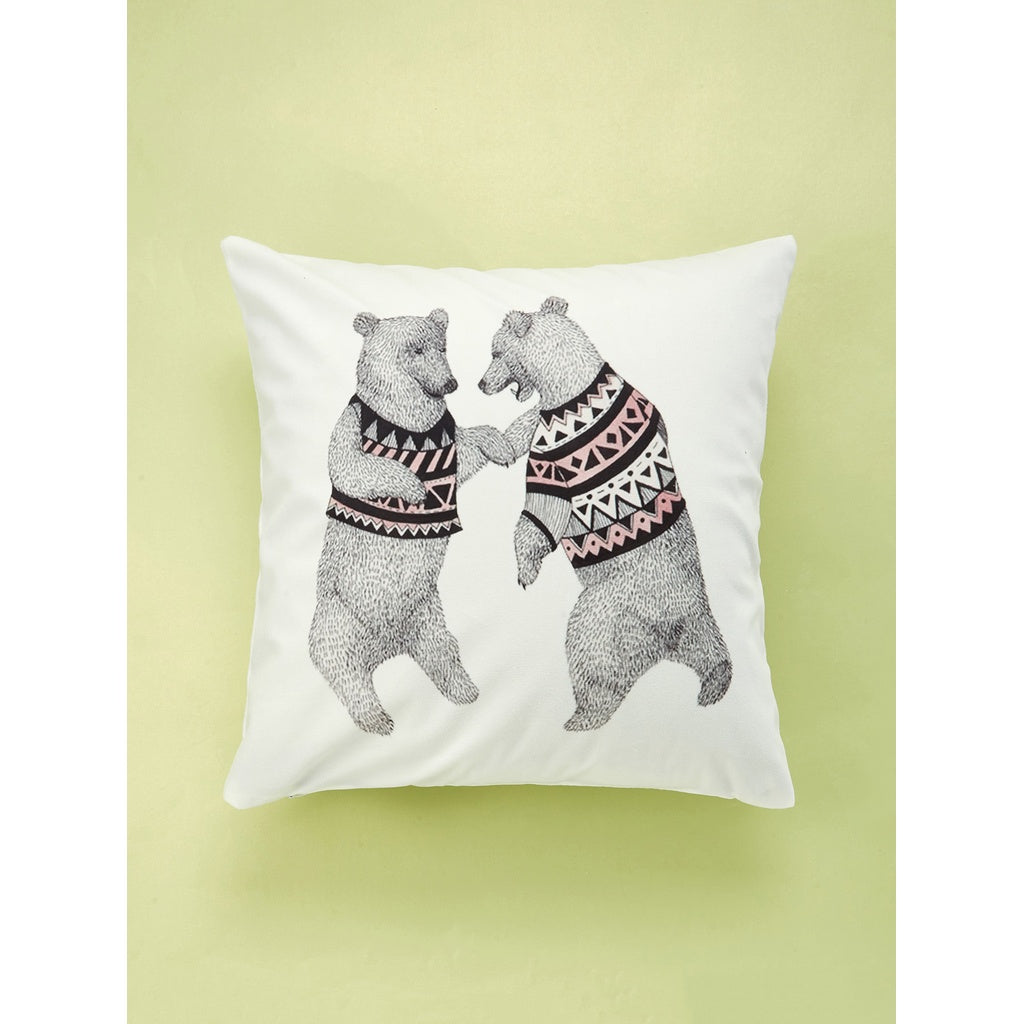 Double Bear Print Cushion Cover