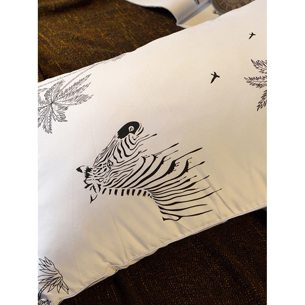 Zebra & Palm Tree Print Pillow 1pc