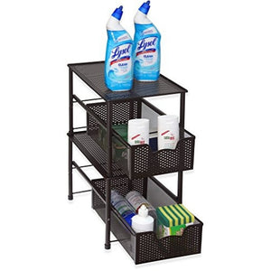 SimpleHouseware Stackable Under Sink Cabinet Sliding Basket Organizer Drawer, Bronze