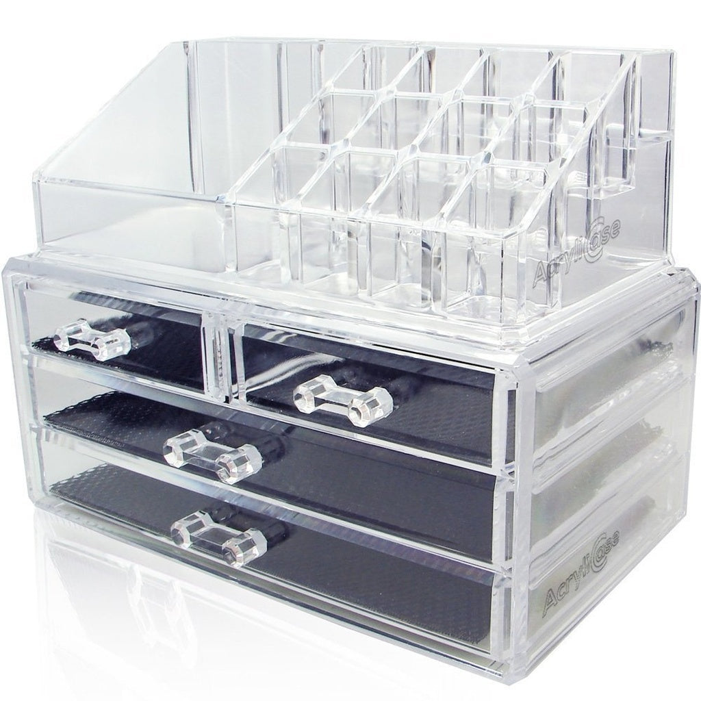 Acrylic Makeup Organizer Cosmetic Jewelry Display Box 2 Piece Set by Crystal Acrylics®