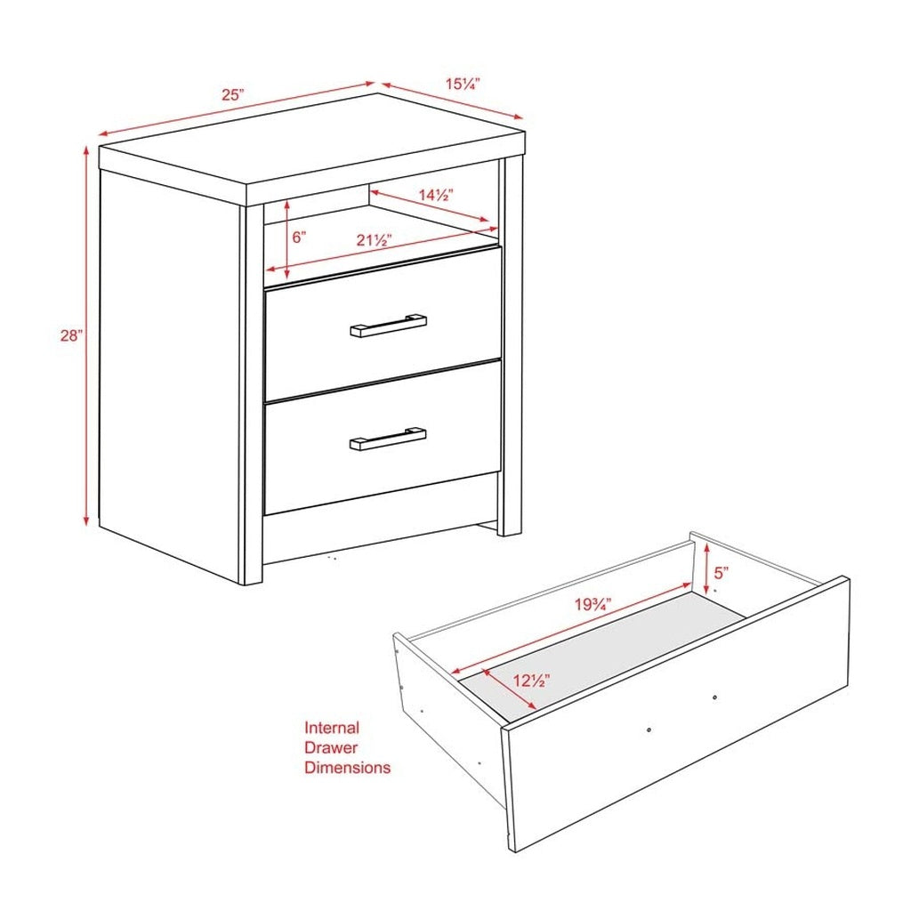 Prepac District Tall 2-Drawer Nightstand