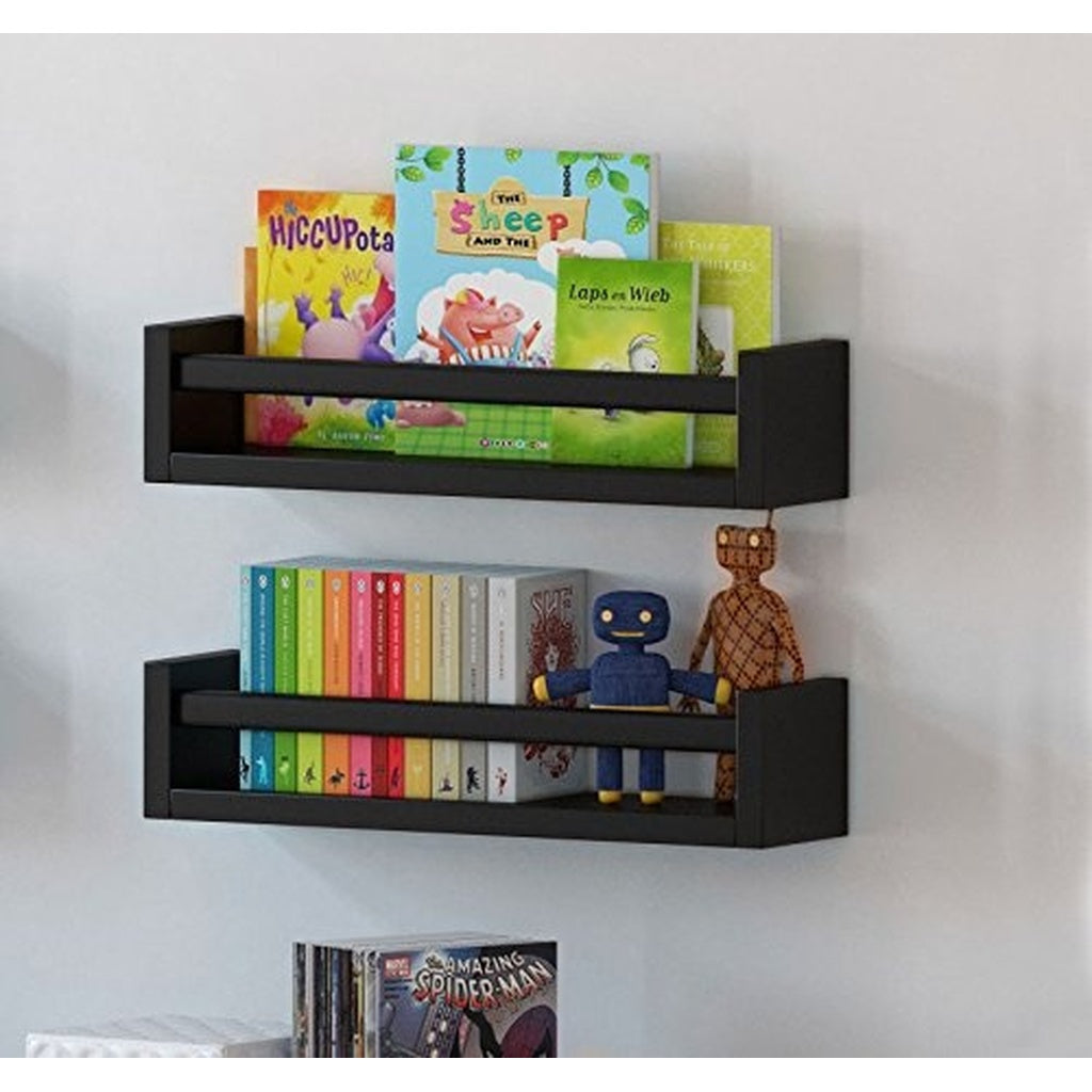 Set of 2 Multi-use Wood Kitchen Wall Shelf Black Spice Rack Also Good For Nursery Wall Shelf