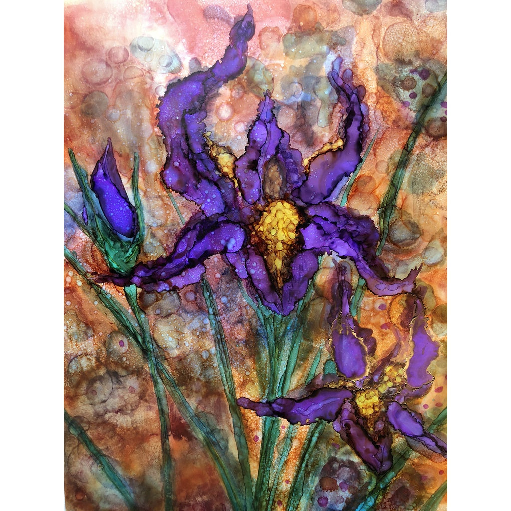 """Purple Irises"" Alcohol ink Painting"