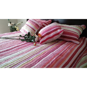 Lovely Stunning Stripes Red & Pink Reversible Quilted Coverlet Bedspread Set (DXJ101824)