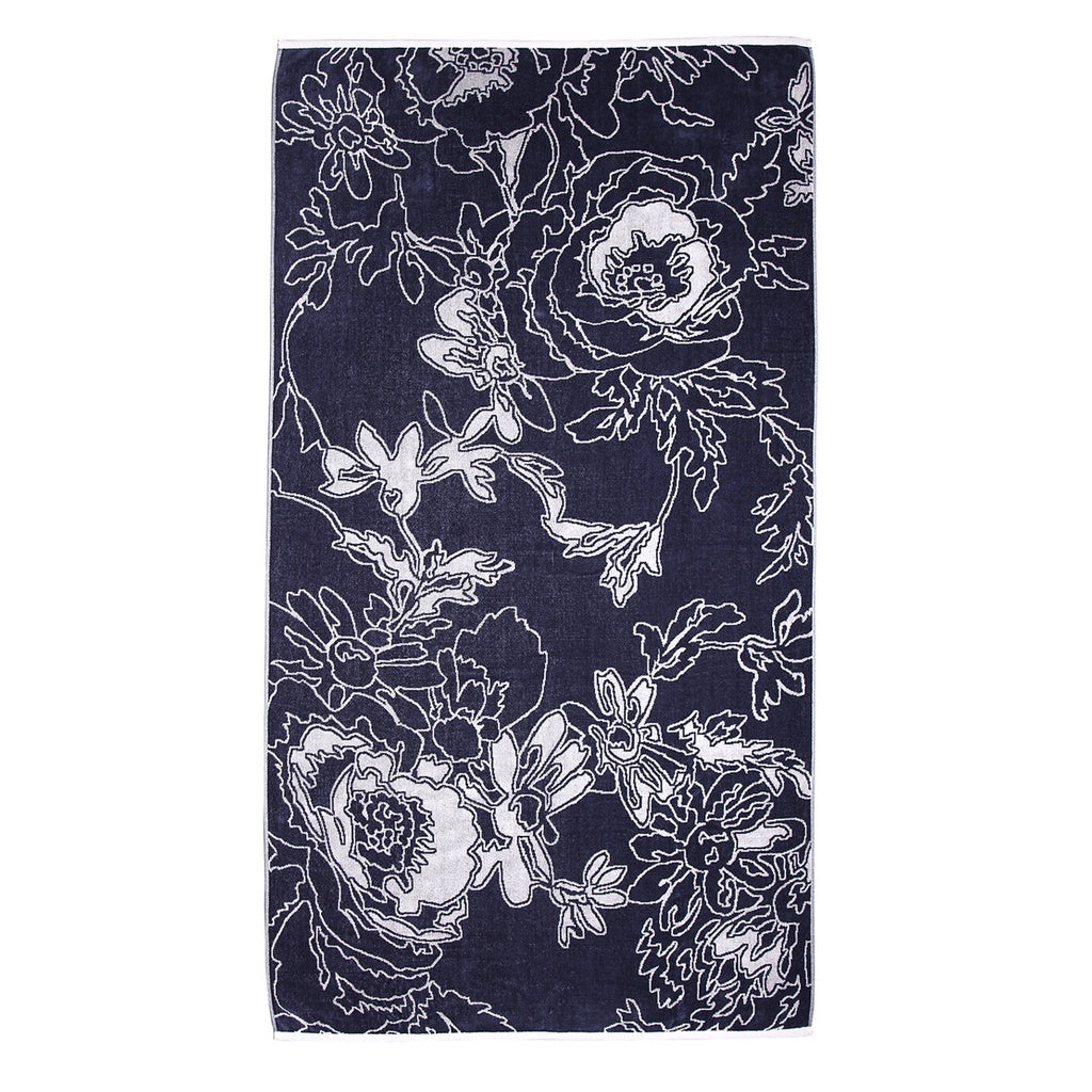 Gray Graphic Flowers Beach Towel