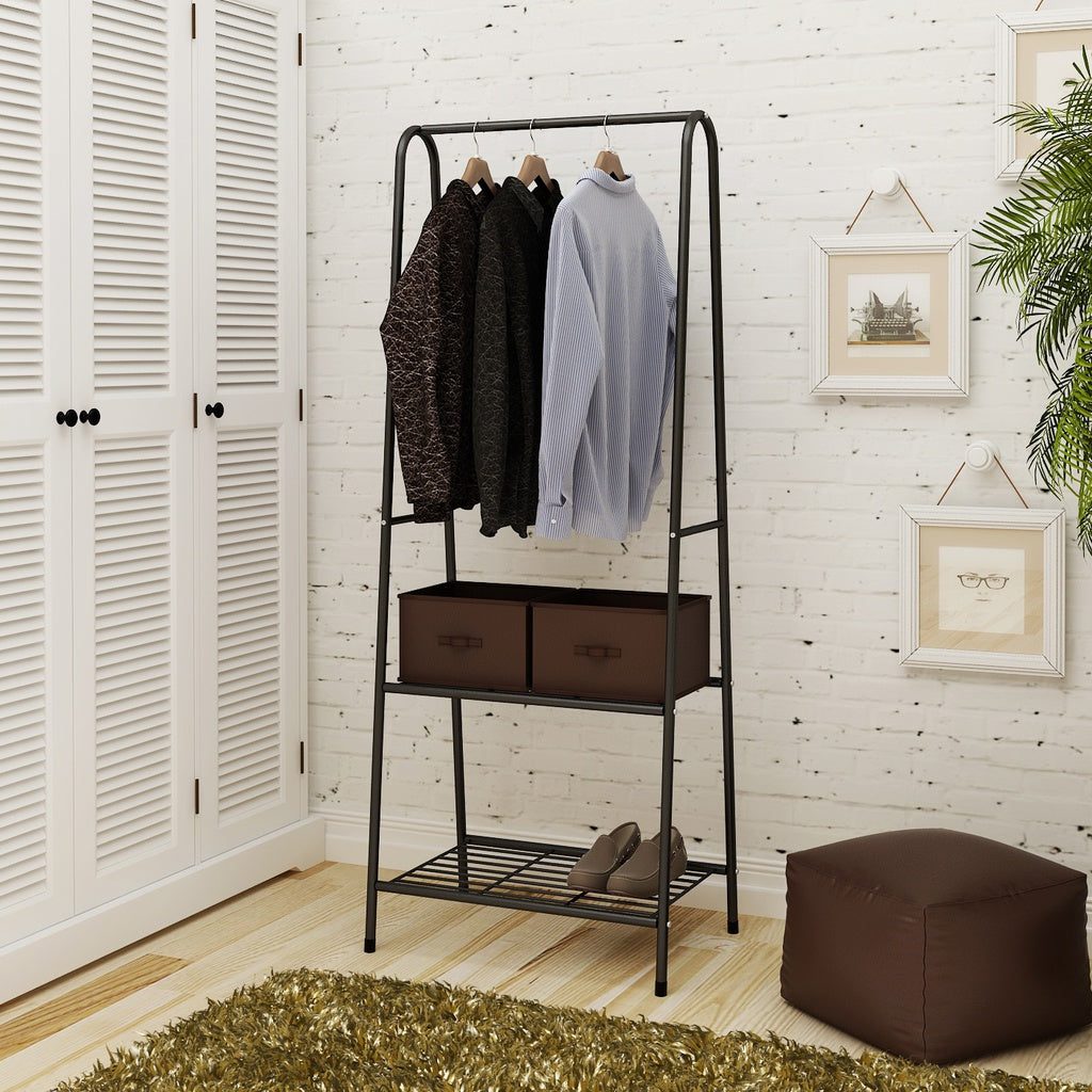 Black Garment Rack Heavy Duty Coat Storage Rack Metal Hanging Clothes Garment Rail Shoe Rack Display Hat Stand Shelf