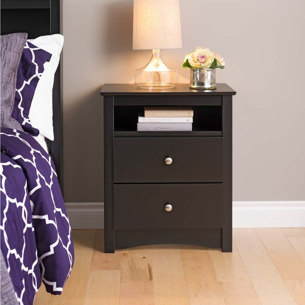 Prepac Black Sonoma Tall 2 Drawer Nightstand with Open Shelf